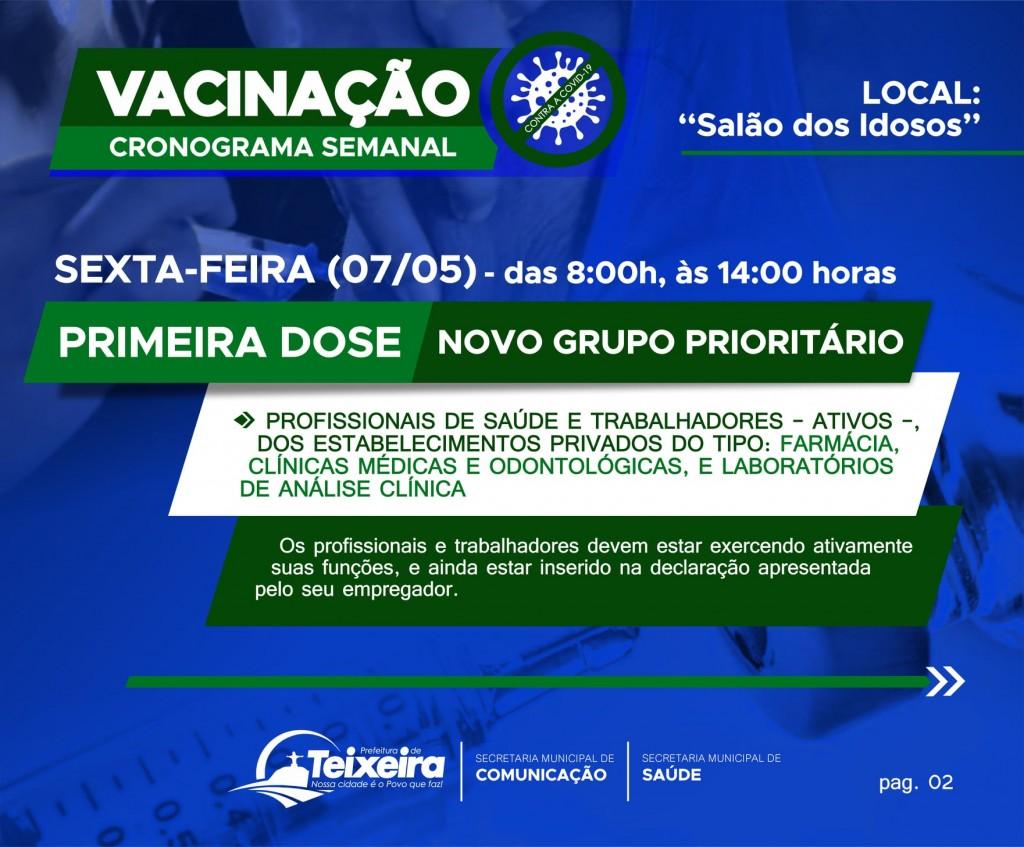 NOVO CRONOGRAMA DE VACINAÇÃO - CONTRA A COVID