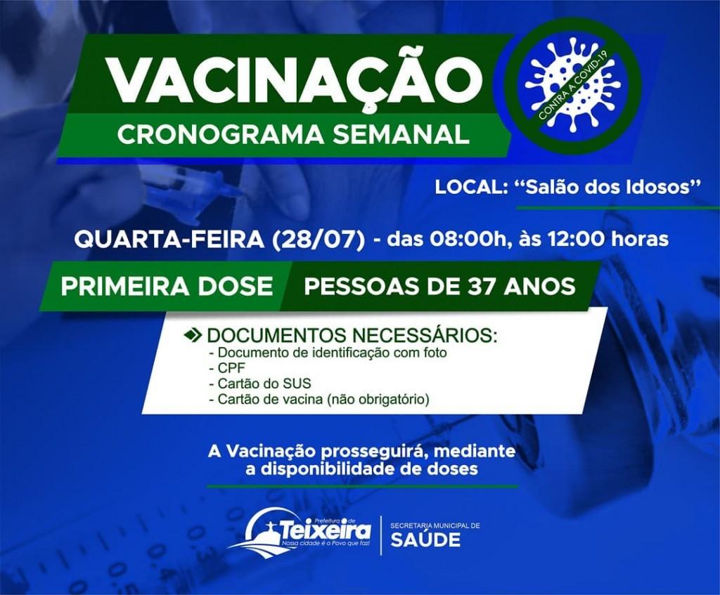 QUARTA-FEIRA(28) - VACINAÇÃO CONTRA A COVID-19