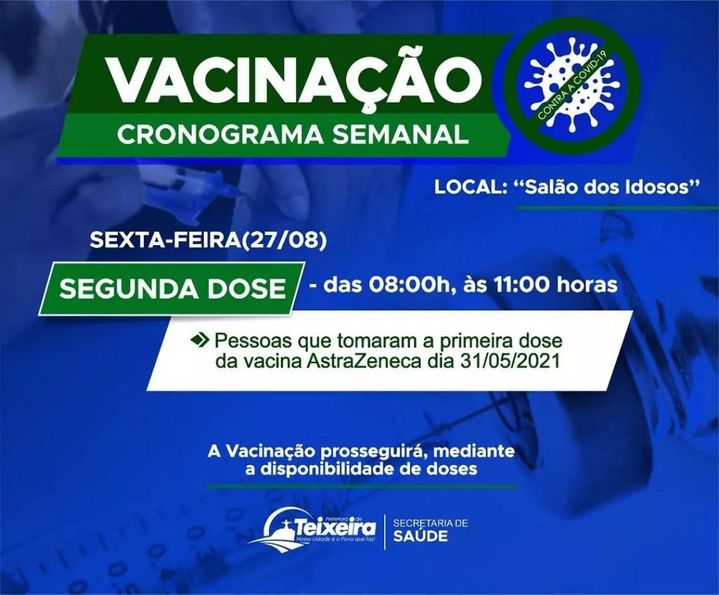SEXTA-FEIRA (27) - VACINAÇÃO CONTRA A COVID-19